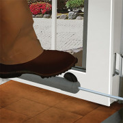 To Make the Door Stay Open - Open the door & tap the button with foot or hand. Closer can be installed anywhere on the door (most convenient position on bottom)